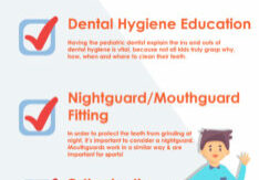 infographic with a fall kids dental checklist